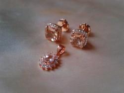 Aranyozott ezüst ékszer szett:Morganit és gyémánt