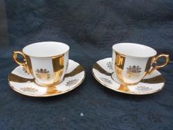 Moritz Zdekauer porcelán csésze pár, 1920-as évek.Dúsan aranyozott, finom, elegáns formatervezés