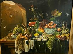 Gyümölcs csendélet állatokkal