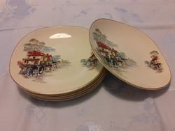 6 db angol fajansz (vagy porcelán) jelenetes reggeliző tányér