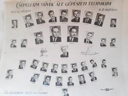 Régi fotó Csepeli RM. Művek 1952 tablókép ált. gépészeti technikum osztálykép csoportkép