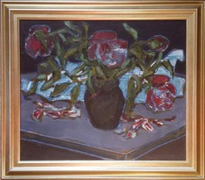 Tenk László - Hulló virágok 40 x 50 cm olaj, farost keretezve