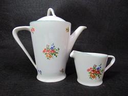 Virágos hollóházi porcelán kávé kiöntő és tejszínes