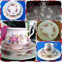 Csodaszép,Barokk  Extrém ritka Antik Royal Albert Angol porcelán komplett  6szem.teás/kávés/sütemény