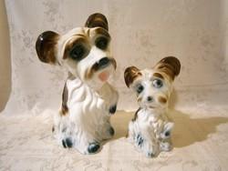 E_008 2 db nagyon aranyos kajla fülű porcelán kutya 26 és 18 cm magasak
