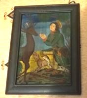 Régi üvegre festett szentkép 1800-as évek?