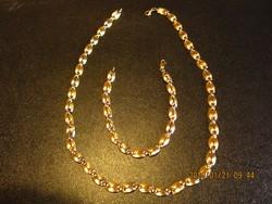 Arany női nyakék és karlánc 14 krt ,19.3 gr fehér-sárga arany