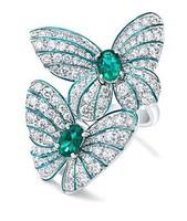 925-s töltött ezüst gyűrű, smaragdzöld és fehér CZ kristályokkal