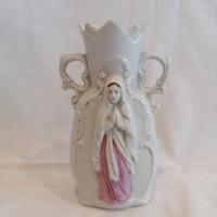 Antik porcelán váza vallásos kidomborodó alakkal