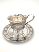 Orosz niellós ezüst csésze, dúsan cizellált,84 zolotnyik / 875-ös ezüst 156 g