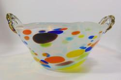 Színes rétegelt üveg kínáló , asztalközép