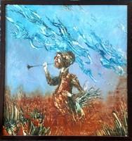 Győrfi András - Ember pikulával 80 x 76 cm olaj, farost 1994-es