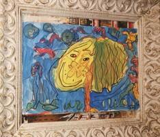 JP. Modern arc : Földanyó.Vegyestechnika papír. Mérete:20x30 cm.