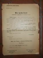 Régi papír rendelet m. kir .vasúti és hajózási főfelügyelöség 1914