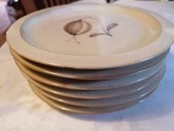 Desszertes tányérok finom, ízléses tulipánmintával, hibátlan állapotban! 6 db-os készlet.