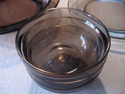 Arcoroc FRANCE füstös barna kompótos, salátás tálka