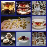 RITKA! Royal Albert Angol12szem.kompl. étkészlet leveses csészékkel+12 szem. kompl.teás/kávés/sütis