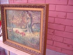 Csodaszép őz pillanatkép jelzett festmény!