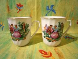 F_014 2 db nagyon szép barokk életképes porcelán teás bögre, csésze