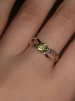 10 karátos valódi szilárd Peridot gyémánt gyűrű