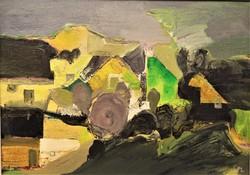 Paizs László (1935 - ) Táj c. Képcsarnokos festménye 76x56cm EREDETI GARANCIÁVAL !!