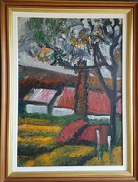 Schéner Mihály - Kolostor kert 80 x 60 cm olaj, farost
