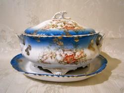 E_020 PL S Vienna nagy méretű porcelán szószos kínáló tál tetővel, gyönyörű festéssel kidolgozással