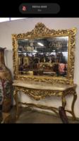 Aranyozott barokk stílusú tükörkonzol