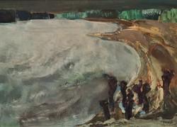 Vecsési Sándor (1930-2015) Dunai táj c. Képcsarnokos festménye 106x76cm EREDETI GARANCIÁVAL !!