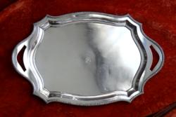 """Nagyméretű, elegáns ezüst tálca, 1910-es, 20-as évek, dianás fémjel, """"ES"""" monogram, 57 cm, 1522 g"""