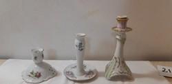 Zsolnay porcelán gyertyatartó, virágos hollóházi barokk gyertyatartó, német gyertyatartó