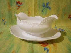 F_012 Nagyon szép Zsolnay fehér porcelán szószos kínáló tál