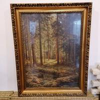 Üvegezett arany-fa képkeret , falc 67x50 cm