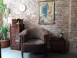 Kopottas bőr art deco fotel, loft, vintage, dekor