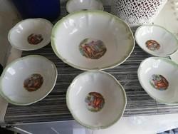 barok jelenetes kínáló, kompotos,salátás, készlet 6+1 db,