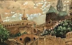 Veix Ferencz Halászbástya c . antik ( 100 éves). festménye EREDETI GARANCIÁVAL !!