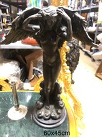 Szárnyas női alak bronzszobor