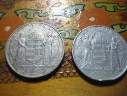 5  pengő  , Horthy val  , aluból    1943 as , afotó látható  állapotban