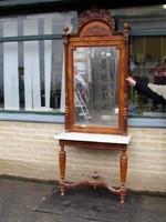 Antik ó-német tükör konzollal