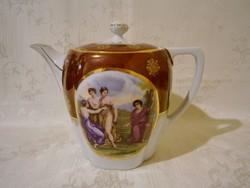 E_025 Régi jelzett Csehszlovák (Alt wien) életképes nagy porcelán teás kanna, kancsó