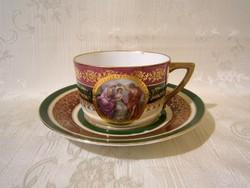 E_023 Dúsan aranyozott, lüszteres Alt Wien porcelán teás csésze tányérral mitológiai jelenettel