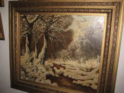 Nemes  László: Téli táj 1967 olaj -vászon ,hozzá illő , faragott  tölgyfa keretben
