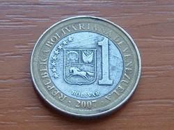 VENEZUELA 1 BOLIVAR 2007 BIMETÁL #
