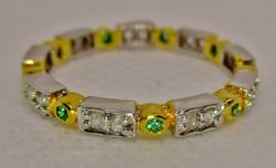 Szépséges valódi 0.27ct gyémánt és smaragd ezüst gyűrű
