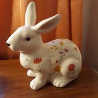 Porcelán nyúl, húsvéti nyuszi, tavaszi virágos