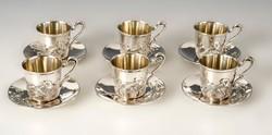 Ezüst szecessziós kávés pohár készletben