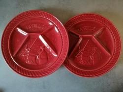 Sarreguemines majolika osztott, fondü tányér 2 db