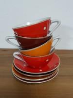 Hollóházi pöttyös csészék alátéttel - retro porcelán