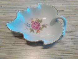 Levél formájú Hollóházi porcelán kis kínáló
