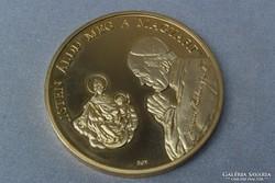 II.János Pál Pápa aranyozott nagyméreteű emlékplakett Pécs 1991.